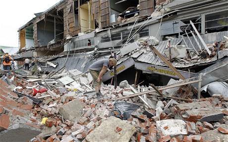 Chch quake street rubble
